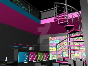 3D mockup for a themed bar (80's) by taniacpl