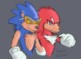 Neon Sonic and Knuckles Kemono Redesign by MisterHinotori