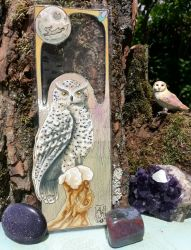 Snow Owl C Bookmark (SOLD) by AndromedasWitchery