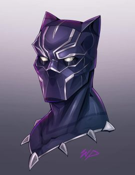 Black Panther Headshot by Puekkers