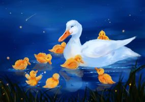 Mother Duck and Ducklings by Mellodee