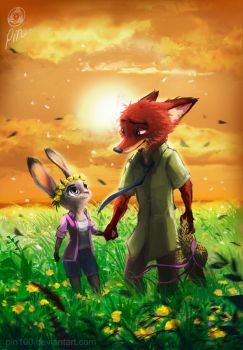 Zootopia Fanart - Judy and Nick by pin100