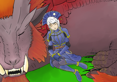 Sleeping Teostra by wishes0007