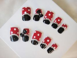 Minnie Mouse Simple Nail Set by jadelushdesigns