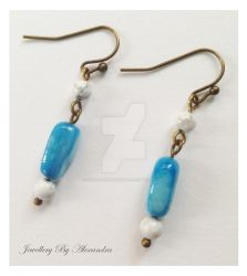 Magnesite and Shell Earrings by WhiteMagicPriestess