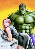 Black Widow and Hulk , color by TIAGO-FERNANDES