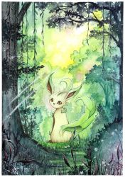Leafeon in the woods by LizTheFox