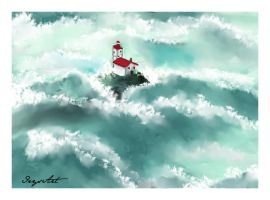 Lighthouse in the Storm by IrysArt