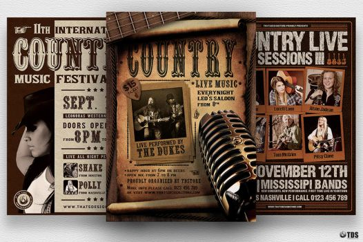 Country Music Flyer Bundle by Thats-Design