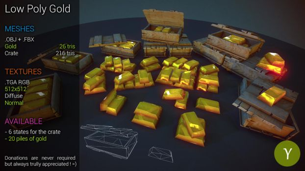 Free LowPoly Golds by Yughues