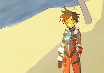 Tracer on a Deserted Island as a Zombie by dessyxwessy