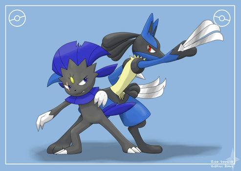 Lucario and Weavile by lVSl