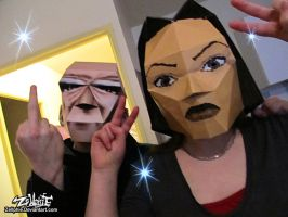 Lara and Winston Papercraft cosplay by Zellphie