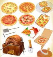 Pizza pack + pizza oven  MMD download by Hack-Girl