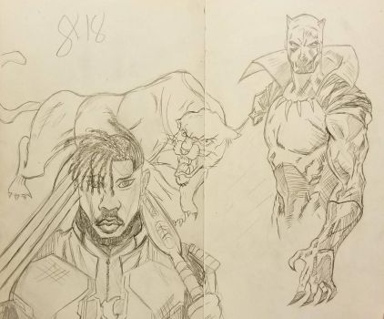 Black Panther and Killmonger by andyosu20