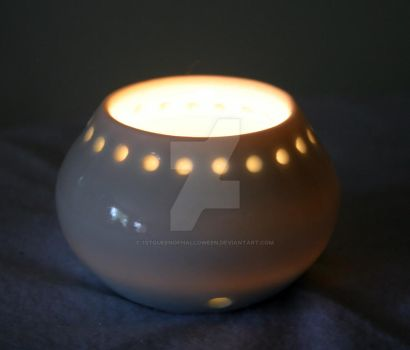 OOAK Ceramic White Pot Luminary by 1stQueenOfHalloween