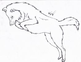 Jumping Wolf Line Art - FREE by The-Bone-Snatcher
