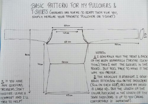 Basic Pattern for my Knitted Pullovers and Tees by MoonyMina