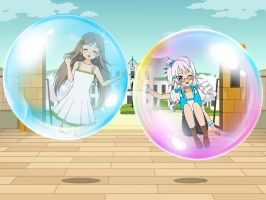 Chitose and Nina Floting inside Bubble by sunnyDg