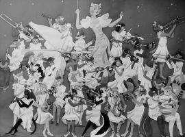 Animal Swing Band 2016 Redraw-Black and White by FlapperFoxy