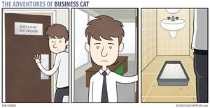 The Adventures of Business Cat: Executive Bathroom by tomfonder
