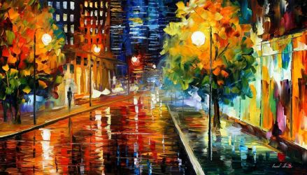 Downtown Street by Leonid Afremov by Leonidafremov