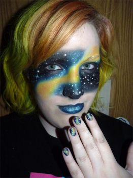 Misc. - galaxy makeup and nails by ShiversTheNinja
