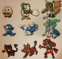 Pokemon Sun Moon Starters and Evolutions Perlers
