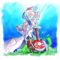 Colress and Rotom 1 - Mowing Grass