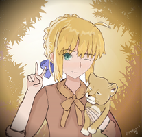 Saber and a Lion cub take a Selfie by Stormowl2