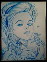 2014 Drawing - Lady in blue :) by nielopena
