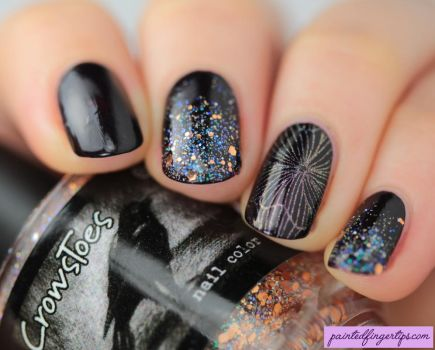 Angled-glittery-nail-art by Painted-Fingertips