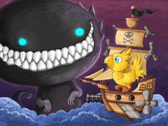 A Chocobo on a pirate ship facing a final boss by polawat