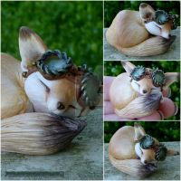 Sleeping Fennec fox with goggles by MysticReflections