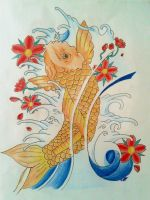 Koi Fish Tattoo Design (print available) by ImJustLesley