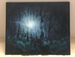 Forest at night in oil by surfacetension9