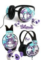 funky panda headphones by Bobsmade