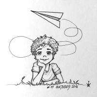 Inktober 2016 - 11: Paper plane dreams by Kirana