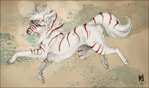 White fur and red stripes by Fjodor