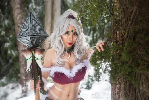 Snowbunny Nidalee Cosplay (League of Legends) by JenileeCosplay