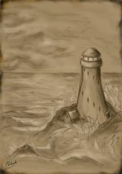 Lighthouse on the rock by Vrolok87