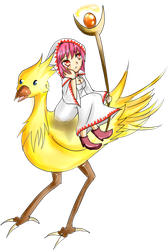 White mage with chocobo ! by Fraiy