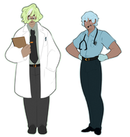 Dr. Greyson Pistachio and Joel the EMT by GingerQuin