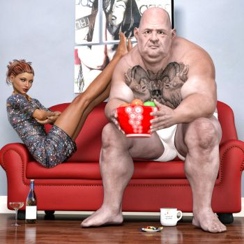 Me And My Man Watching TV by Roy3D