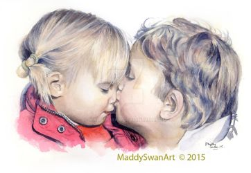 Siblingly Love - watercolour by MaddySwan