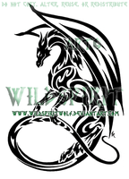 Maned Dragon Tribal Design by WildSpiritWolf