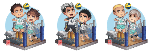 Haikyuu!! - setter + spiker chibi by zero0810