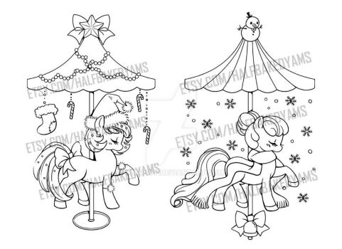 Winter Holiday Carousel Pony Linearts by YamPuff