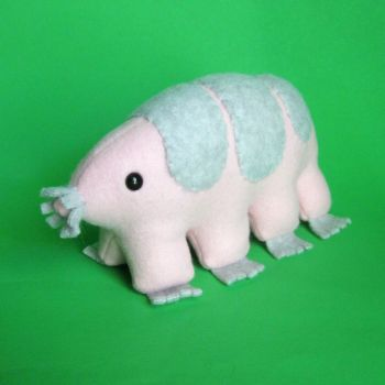 Pink and gray tardigrade by WeirdBugLady