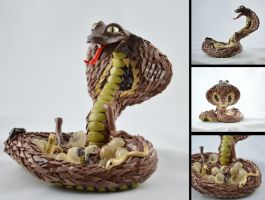 King cobra with babies - for sale by claymeeples